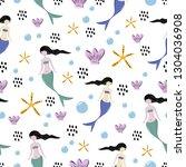 mermaid cute drawing seamless...   Shutterstock .eps vector #1304036908