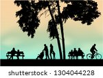 people silhouettes urban... | Shutterstock .eps vector #1304044228