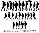 silhouette people on a walk.   Shutterstock .eps vector #1304046742