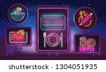 night neon banners for fast... | Shutterstock .eps vector #1304051935