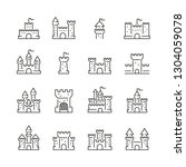 castles related icons  thin... | Shutterstock .eps vector #1304059078