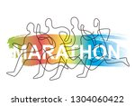 running race  competition  line ... | Shutterstock .eps vector #1304060422