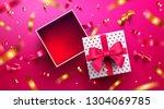 top view of empty open gift box ... | Shutterstock .eps vector #1304069785