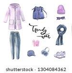 watercolor set of elements...   Shutterstock . vector #1304084362