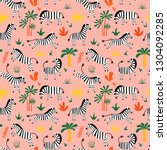 seamless pattern with funny... | Shutterstock .eps vector #1304092285