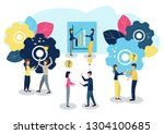 people work as a team and reach ... | Shutterstock . vector #1304100685