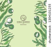 background with edible seaweed  ... | Shutterstock .eps vector #1304101255