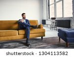 feeling relaxed...handsome and... | Shutterstock . vector #1304113582