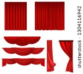 Red Curtains Set Isolated On...