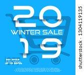 winter 2019 sale vector poster... | Shutterstock .eps vector #1304119135