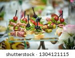 catering table set service with ... | Shutterstock . vector #1304121115