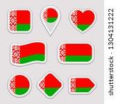 belarus flag set. belarusian... | Shutterstock . vector #1304131222