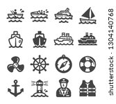 Ship Boat Icon Set Vector And...