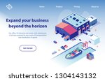international transport company ... | Shutterstock .eps vector #1304143132