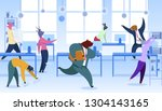 office workers with animals... | Shutterstock .eps vector #1304143165