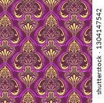 colorful damask pattern with... | Shutterstock . vector #1304147542