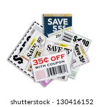 scattered coupons  close up ... | Shutterstock . vector #130416152