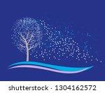 winter tree. snowing  blizzard  ... | Shutterstock .eps vector #1304162572