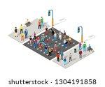 isometric people walking on the ... | Shutterstock .eps vector #1304191858