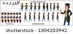 character model sheet with walk ... | Shutterstock .eps vector #1304203942