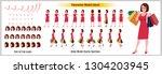 character model sheet with walk ... | Shutterstock .eps vector #1304203945