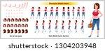 character model sheet with walk ... | Shutterstock .eps vector #1304203948