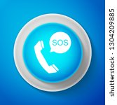 sos call icon isolated on blue... | Shutterstock .eps vector #1304209885