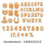 set of gingerbread cookies... | Shutterstock .eps vector #1304222212
