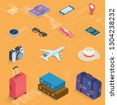travel icons in isometric style.... | Shutterstock .eps vector #1304238232