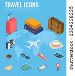 travel icons in isometric style.... | Shutterstock .eps vector #1304238235