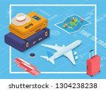 travel equipment in isometric... | Shutterstock .eps vector #1304238238
