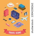 travel icons in isometric style.... | Shutterstock .eps vector #1304238262