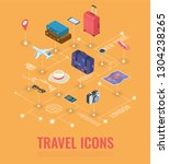 travel equipment in isometric... | Shutterstock .eps vector #1304238265