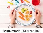 kid's breakfast   weenies  mini ...   Shutterstock . vector #1304264482