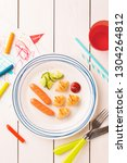 kid's breakfast   weenies  mini ...   Shutterstock . vector #1304264812