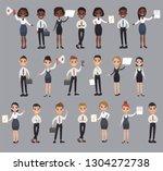 girl man office documents...   Shutterstock .eps vector #1304272738