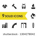 build icons set with tram  pipe ...
