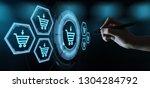 e commerce add to cart online... | Shutterstock . vector #1304284792