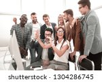 ambitious business team showing ... | Shutterstock . vector #1304286745