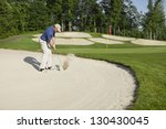 Golfer In A Blue Shirt Blasting ...