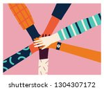 holding hands circle  8 of... | Shutterstock .eps vector #1304307172