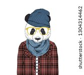 panda bear hipster dressed up... | Shutterstock .eps vector #1304314462