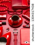 woman red accessories with... | Shutterstock . vector #1304317438