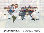 world map with logistic network ... | Shutterstock . vector #1304337592