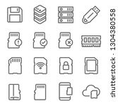 memory card vector line icon... | Shutterstock .eps vector #1304380558