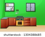 simple interior kitchen with... | Shutterstock . vector #1304388685