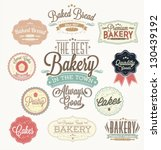Stock vector vintage retro bakery badges and labels 130439192