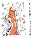 vector illustration. doodle... | Shutterstock .eps vector #1304393152