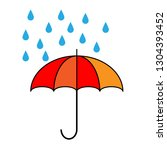 umbrella with rain icon on... | Shutterstock .eps vector #1304393452