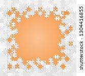 pieces puzzle orange background ...   Shutterstock .eps vector #1304416855
